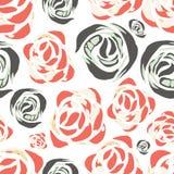 Vector abstract waterverfpatroon met roze bloemen Royalty-vrije Stock Afbeeldingen