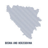 Vector abstract wave map of Bosnia and Herzegovina isolated on a white background. Royalty Free Stock Images