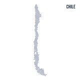 Vector abstract wave map of Chile isolated on a white background. Stock Images