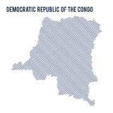 Vector abstract wave map of Democratic Republic of the Congo isolated on a white background. Royalty Free Stock Photos