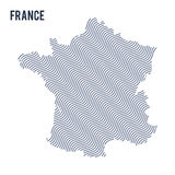 Vector abstract wave map of France isolated on a white background. Royalty Free Stock Photography