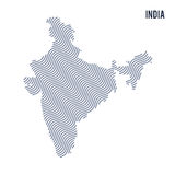 Vector abstract wave map of India isolated on a white background. Stock Image