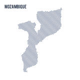 Vector abstract wave map of Mozambique isolated on a white background. Stock Photos