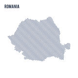 Vector abstract wave map of Romania isolated on a white background. Royalty Free Stock Photo