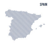 Vector abstract wave map of Spain isolated on a white background. Royalty Free Stock Photography