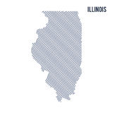 Vector abstract wave map of State of Illinois isolated on a white background. Royalty Free Stock Photos