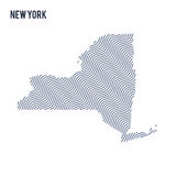 Vector abstract wave map of State of New York isolated on a white background. Stock Photo