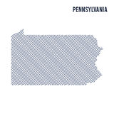 Vector abstract wave map of State of Pennsylvania isolated on a white background. Royalty Free Stock Photos