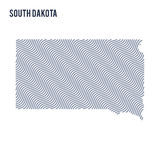 Vector abstract wave map of State of South Dakota isolated on a white background. Stock Photography