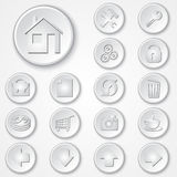 Vector abstract white round paper icon set Stock Image