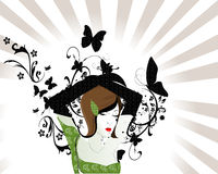 Vector abstract woman. Abstract green fashion woman illustration background Royalty Free Stock Photos