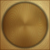 Vector abstract wood background with carved circle Stock Photos
