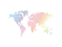 Vector abstract world map. Abstract world Map background consisting of colored squares stock illustration