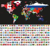 Vector abstract world political map mixed with national flags on black background. Collection of all world flags vector illustration