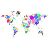 Vector abstract worldmap colorful dots isolated on white background. Illustration Royalty Free Stock Photography