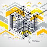 Vector abstract yellow background created in isometric mesh line. S style. Mechanical scheme, vector engineering drawing with cube and mechanism parts. Perfect vector illustration