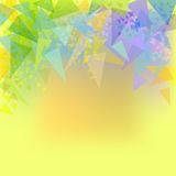Vector abstract yellow background with triangles. Vector abstract yellow background with green,blue,turquoise, orange triangles Stock Photography