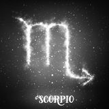 Vector abstract zodiac sign Scorpio on a dark background of the space with shining stars. Royalty Free Stock Photography