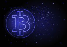 Vector abstracte achtergrond met een symbool van bitcoin-cryptomunt Royalty-vrije Stock Foto