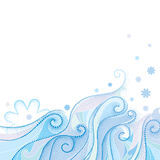 Vector abstracte achtergrond met gestippelde krullende wervelingen, blauwe golvende die lijnen en sneeuwvlokken op witte achtergr Royalty-vrije Stock Afbeelding