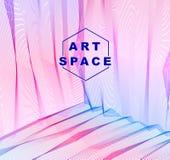 Vector abstracte artistieke achtergrond voor ontwerp, lineair 3d moiré royalty-vrije illustratie