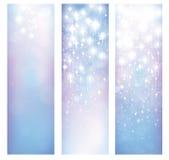 Vector abstracte blauwe bokeh en sterrenpatronenbanners Stock Afbeeldingen