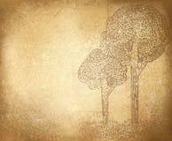 Vector abstracte bomen op grungeachtergrond. Stock Fotografie
