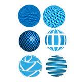 Vector abstracte 3D blauwe gebieden, bollen, grafische ontwerppictogrammen, abstracte cirkels Stock Foto