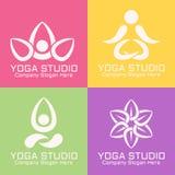 Vector abstracte de emblemenmalplaatjes van de yogastudio vector illustratie