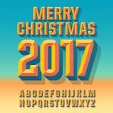 Vector abstracte de groetkaart van de zomer Vrolijke Kerstmis 2017 Stock Foto's