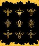 Vector abstracte eenvoudige bijenpictogrammen stock illustratie