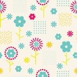 Vector abstracte eenvoudige bloemen naadloze patroonachtergrond stock illustratie