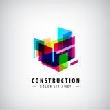 Vector abstracte geometrische bouw, structuurembleem Kleurrijke 3d architectuur stock illustratie