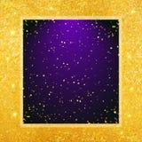 Vector abstracte glamourachtergrond Violet kader op glanzende gouden achtergrond Stock Foto