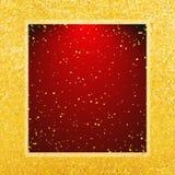 Vector abstracte glamourachtergrond Violet kader op glanzende gouden achtergrond Stock Afbeeldingen