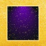 Vector abstracte glamourachtergrond Violet kader op glanzende gouden achtergrond Royalty-vrije Stock Afbeelding