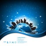 Vector abstracte globale stedelijke stadsmededeling en de moderne achtergrond van het levensstijlconcept Stock Fotografie