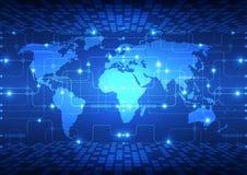 Vector abstracte globale toekomstige technologie, elektrische telecommunicatieachtergrond Stock Afbeeldingen