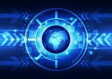 Vector abstracte globale toekomstige technologie, elektrische telecommunicatieachtergrond Royalty-vrije Stock Afbeelding