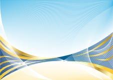 Vector abstracte gouden blauwe achtergrond Stock Afbeeldingen