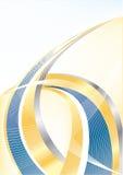 Vector abstracte gouden en blauwe achtergrond Stock Foto's