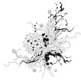 Vector abstracte grafisch met bloemen Stock Afbeeldingen