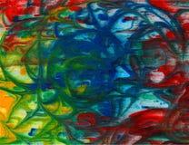 Vector abstracte heldergroene, blauwe, rode, gele waterverfachtergrond voor uw kaarten van de ontwerpgroet en uitnodigingen Royalty-vrije Stock Foto's