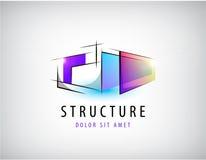 Vector abstracte kleurrijke geometrische structuur, abstract embleem, geïsoleerd pictogram stock illustratie
