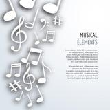 Vector abstracte Muzieknota's met schaduwen op wit geïsoleerde achtergrond Muzikaal concept royalty-vrije illustratie