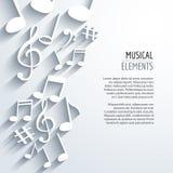 Vector abstracte Muzieknota's met schaduwen Op witte achtergrond Muzikaal concept royalty-vrije illustratie