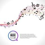 Vector abstracte Muzieknota's over kleurrijke lijnen op wit geïsoleerde achtergrond Muzikaal concept royalty-vrije illustratie