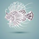 Vector Abstracte Overzeese Vissen Stock Afbeeldingen