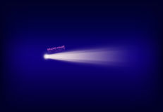 Vector abstracte purpere banner met schijnwerper, flitslicht, lichtstraal, straal van licht stock afbeelding