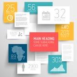 Vector abstracte rechthoekenillustratie als achtergrond/infographic malplaatje Stock Afbeeldingen
